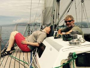 Kass and Rupert enjoy a relaxing daysail on Zest in Ponta Delgada