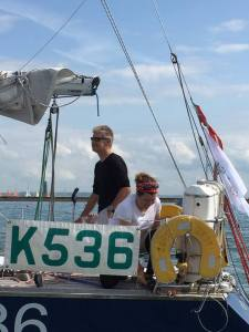 Rupert and Kass head out to start the 2015 Rolex Fastnet Race