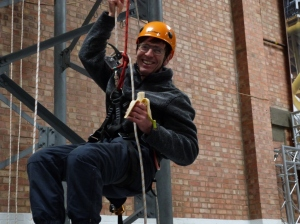Dave at the mast climbing workshop